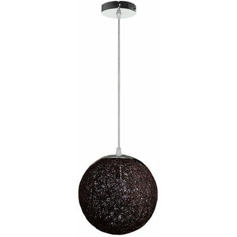 STOEX Rétro Suspension Luminaire en Rotin Globe Rond 20cm, Lustre Abat-jour DIY Lampe Plafond E27 pour Salon Restaurant Centre commercial Bar - Noir