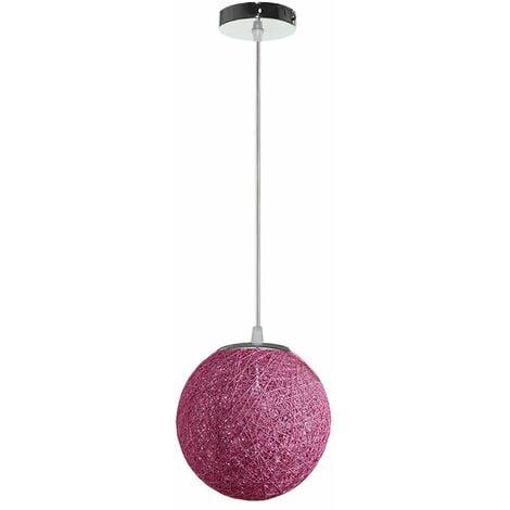 STOEX Rétro Suspension Luminaire en Rotin Globe Rond 20cm, Lustre Abat-jour DIY Lampe Plafond E27 pour Salon Restaurant Centre commercial Bar - Violet