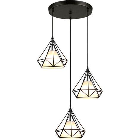 STOEX Rétro Suspension Luminaire Metal Design Diamant Noir, Lustre Abat jour 20cm Fer Lampe Suspendu E27, Suspension Industrielle pour Chambre Restaurant
