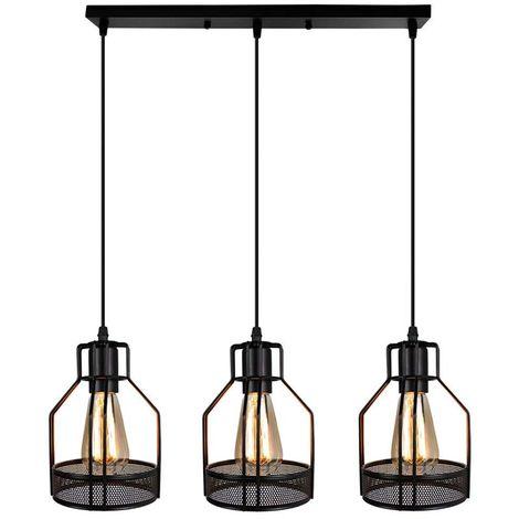 STOEX Rétro suspensions vintage lustres abat jour 3 luminaires barre style industriel cage nid éclairage cuisine salon salle à manger chambre, E27 Noir