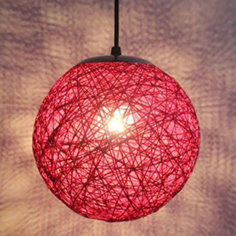 STOEX Rouge Rétro Suspension Luminaire en Rotin Globe Rond 15cm , Lustre Abat-jour DIY Lampe Plafond E27 pour Salon Restaurant Centre commercial Bar