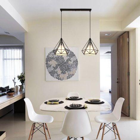 STOEX Suspension Cage Forme Diamant Contemporain 2 Lampe Plafonnier, Corde  Ajustable Luminaire Lustre Pour Cuisine