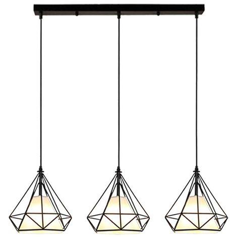 STOEX Suspension industrielle vintage design forme diamant 20cm, lustre abat jour metal E27 luminaire pour salon cuisine chambre, Noir