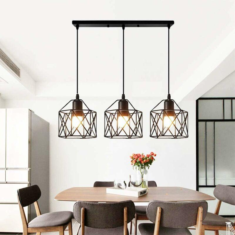 STOEX Suspension industrielle Vintage Lampe Lustre Abat-Jour Ajustable DIY  Luminaire Salle à Manger Bar Noir