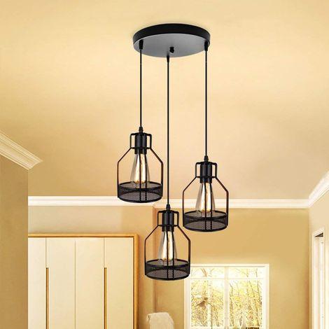 STOEX Suspensions vintage 3 luminaires style industriel cage nid éclairage E27 cuisine salon salle à manger chambre, noir
