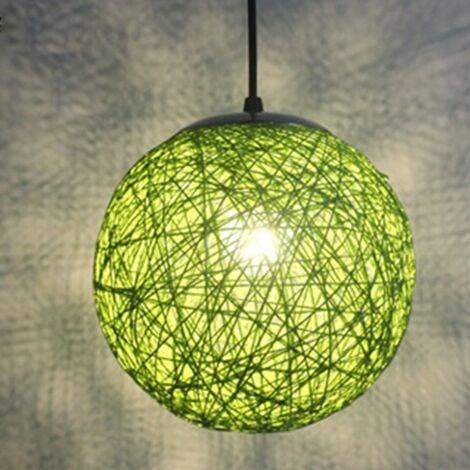 STOEX Vert Rétro Suspension Luminaire en Rotin Globe Rond 15cm , Lustre Abat-jour DIY Lampe Plafond E27 pour Salon Restaurant Centre commercial Bar