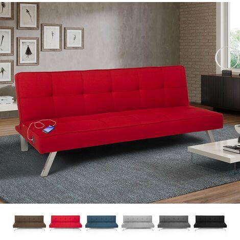 Stoffsofa mit Usb-Anschluss und Metallbeinen Im Astralis-Design | Farbe: Rot
