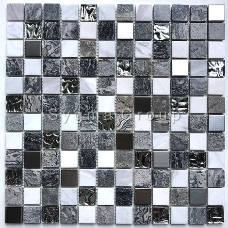 stone and glass mosaic tile bathroom and shower Willa