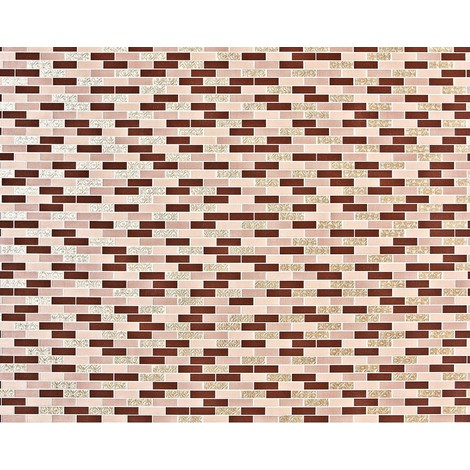 Stone mosaic paste the wall wallpaper XXL EDEM 991-35 nonwoven hot embossed rectangular tiles metallic ornaments brown beige gold 10.65 m2