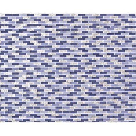 Stone mosaic paste the wall wallpaper XXL EDEM 991-37 nonwoven hot embossed rectangular tiles metallic ornaments purple violet silver 10.65 m2