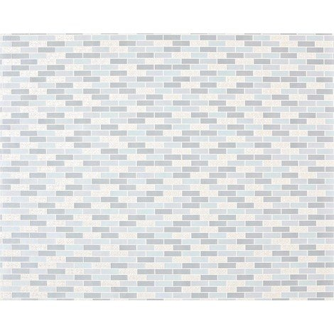 Stone mosaic paste the wall wallpaper XXL EDEM 991-39 nonwoven hot embossed rectangular tiles metallic ornaments blue grey silver 10.65 m2