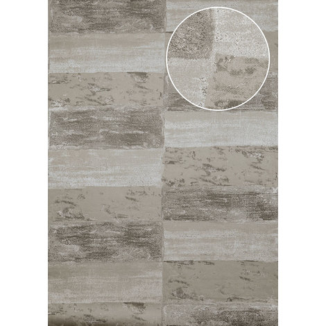 Stone tile wallpaper wall Atlas ICO-5072-2 non-woven wallpaper smooth with nature-inspired pattern shimmering grey stone-grey quartz-grey 7.035 m2 (75 ft2)