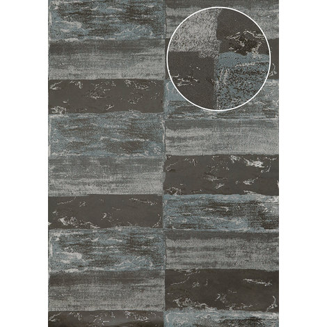 Stone tile wallpaper wall Atlas ICO-5072-3 non-woven wallpaper smooth with nature-inspired pattern shimmering grey silver squirrel-grey 7.035 m2 (75 ft2)