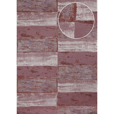 Stone tile wallpaper wall Atlas ICO-5072-5 non-woven wallpaper smooth with nature-inspired pattern shimmering violet black-red wine-red silver 7.035 m2 (75 ft2)