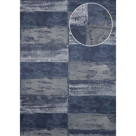 Stone tile wallpaper wall Atlas ICO-5072-7 non-woven wallpaper smooth with nature-inspired pattern shimmering blue black-blue steel-blue silver 7.035 m2 (75 ft2)