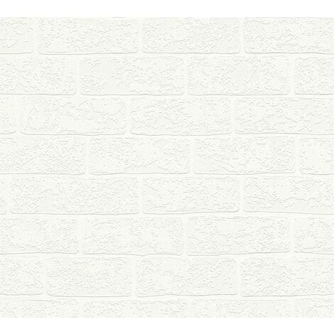 Stone tile wallpaper wall Profhome 359811-GU non-woven wallpaper slightly textured with nature-inspired pattern matt white chrome green 5.33 m2 (57 ft2)