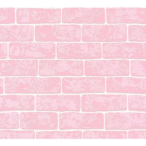 Stone tile wallpaper wall Profhome 359812-GU non-woven wallpaper slightly textured with nature-inspired pattern matt pink white 5.33 m2 (57 ft2)