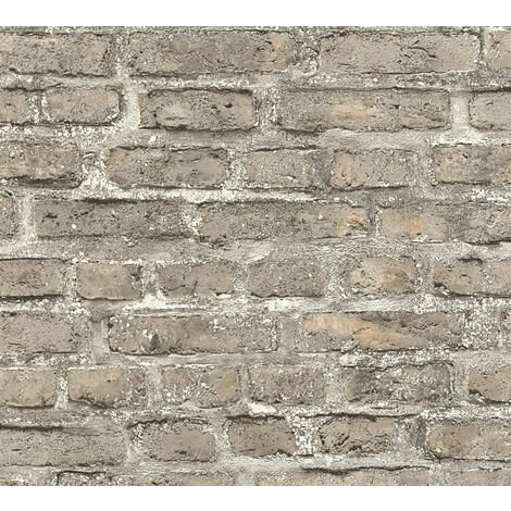 Stone tile wallpaper wall Profhome 361394-GU non-woven wallpaper smooth with nature-inspired pattern matt grey brown 5.33 m2 (57 ft2)