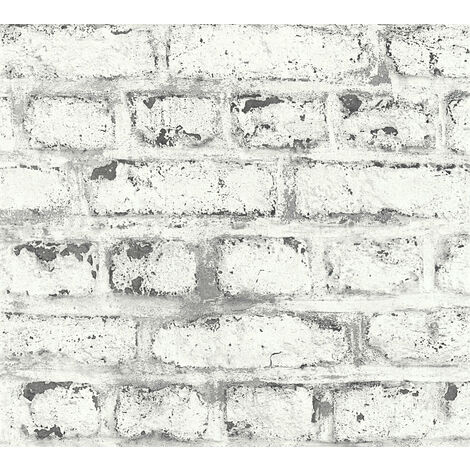 Stone tile wallpaper wall Profhome 362802-GU non-woven wallpaper slightly textured with nature-inspired pattern matt white grey 5.33 m2 (57 ft2)