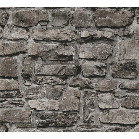Stone tile wallpaper wall Profhome 363704-GU non-woven wallpaper smooth with nature-inspired pattern matt black 5.33 m2 (57 ft2)