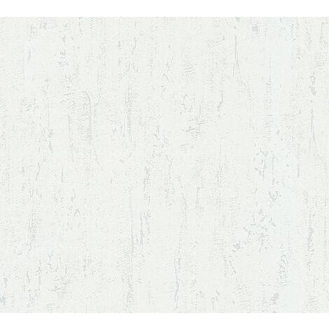 Stone tile wallpaper wall Profhome 364302-GU non-woven wallpaper slightly textured unicoloured matt white 5.33 m2 (57 ft2)