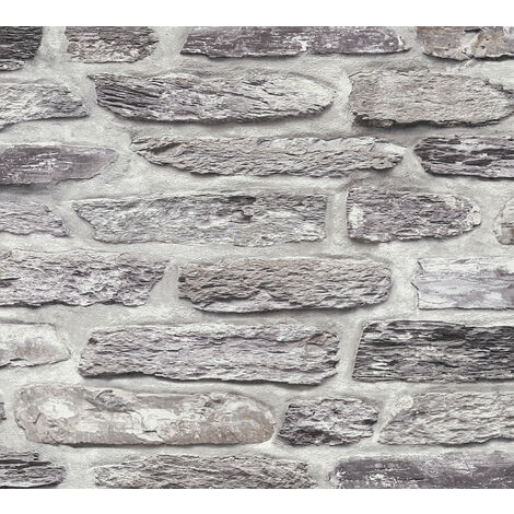 Stone tile wallpaper wall Profhome 364781-GU non-woven wallpaper smooth with nature-inspired pattern matt grey black 5.33 m2 (57 ft2)