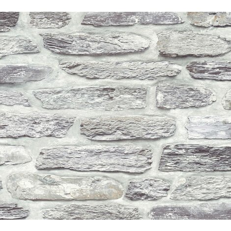 Stone tile wallpaper wall Profhome 364782-GU non-woven wallpaper smooth with nature-inspired pattern matt grey silver 5.33 m2 (57 ft2)
