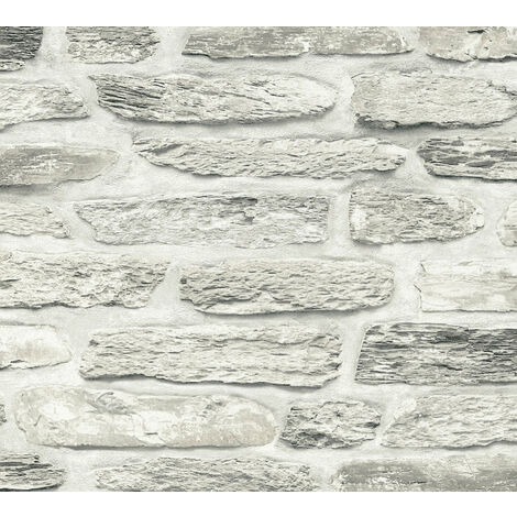 Stone tile wallpaper wall Profhome 364783-GU non-woven wallpaper smooth with nature-inspired pattern matt grey beige chrome green 5.33 m2 (57 ft2)