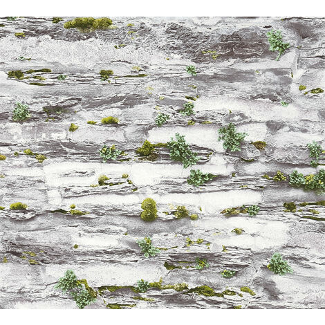 Stone tile wallpaper wall Profhome 364922-GU non-woven wallpaper smooth with nature-inspired pattern matt grey 5.33 m2 (57 ft2)