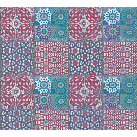 Stone tile wallpaper wall Profhome 368952-GU non-woven wallpaper smooth with tile pattern matt red blue green 5.33 m2 (57 ft2)