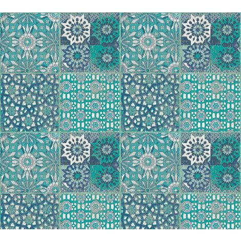 Stone tile wallpaper wall Profhome 368953-GU non-woven wallpaper smooth with tile pattern matt blue green grey 5.33 m2 (57 ft2)
