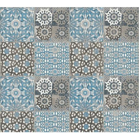 Stone tile wallpaper wall Profhome 368955-GU non-woven wallpaper smooth with tile pattern matt blue grey 5.33 m2 (57 ft2)
