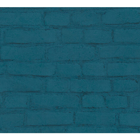 Stone tile wallpaper wall Profhome 374144-GU non-woven wallpaper smooth with nature-inspired pattern matt blue black green 5.33 m2 (57 ft2)