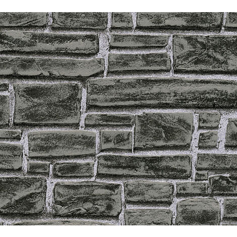 Stone tile wallpaper wall Profhome 662330-GU non-woven wallpaper smooth with nature-inspired pattern matt black grey 5.33 m2 (57 ft2)