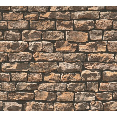 Stone tile wallpaper wall Profhome 907912-GU non-woven wallpaper smooth with nature-inspired pattern matt grey beige 5.33 m2 (57 ft2)