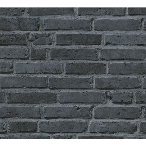 Stone tile wallpaper wall Profhome 942833-GU non-woven wallpaper smooth with nature-inspired pattern matt black grey 5.33 m2 (57 ft2)