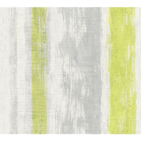 Stone tile wallpaper wall Profhome 944251-GU non-woven wallpaper smooth wood look matt grey green yellow 5.33 m2 (57 ft2)