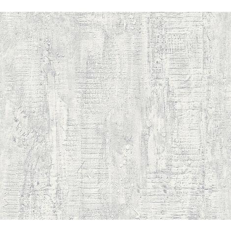 Stone tile wallpaper wall Profhome 944263-GU non-woven wallpaper slightly textured wood look matt white 5.33 m2 (57 ft2)