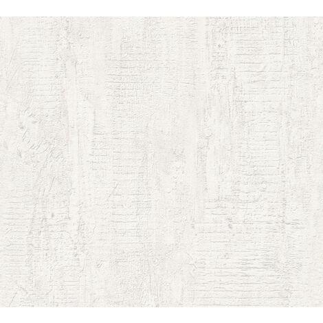 Stone tile wallpaper wall Profhome 944264-GU non-woven wallpaper slightly textured wood look matt white 5.33 m2 (57 ft2)
