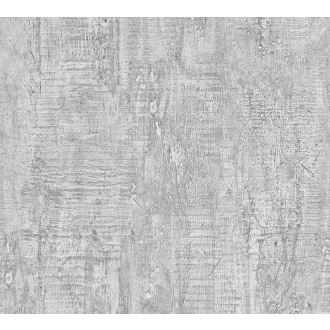 Stone tile wallpaper wall Profhome 944265-GU non-woven wallpaper slightly textured wood look matt grey 5.33 m2 (57 ft2)