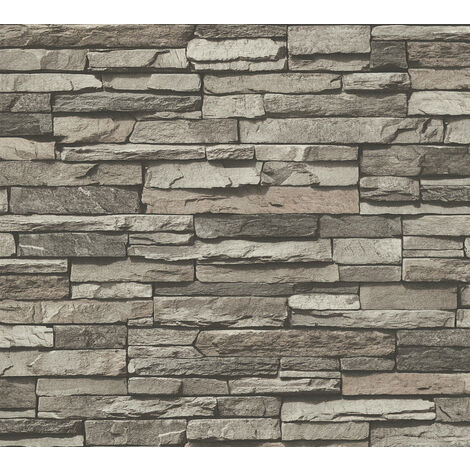 Stone tile wallpaper wall Profhome 958331-GU non-woven wallpaper smooth with nature-inspired pattern matt grey chrome green black 5.33 m2 (57 ft2)