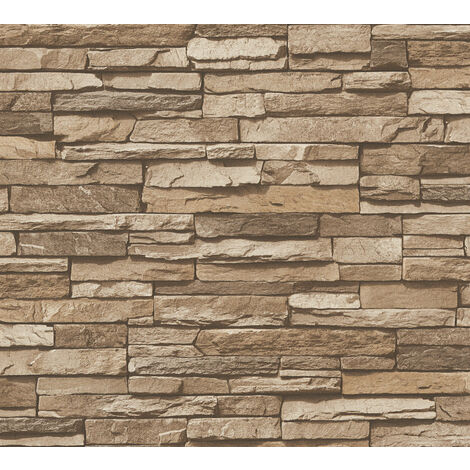 Stone tile wallpaper wall Profhome 958332-GU non-woven wallpaper smooth with nature-inspired pattern matt brown beige 5.33 m2 (57 ft2)