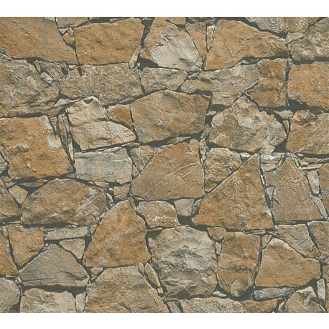 Stone tile wallpaper wall Profhome 958631-GU non-woven wallpaper smooth with nature-inspired pattern matt brown beige black 5.33 m2 (57 ft2)