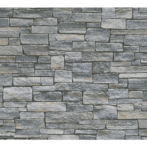 Stone tile wallpaper wall Profhome 958711-GU non-woven wallpaper smooth with nature-inspired pattern matt grey black 5.33 m2 (57 ft2)