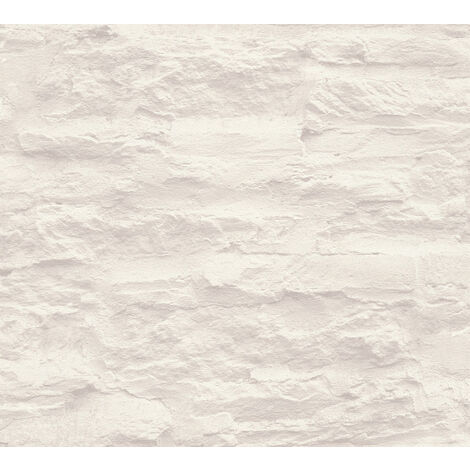 Stone tile wallpaper wall Profhome 959083-GU non-woven wallpaper smooth with nature-inspired pattern matt cream white 5.33 m2 (57 ft2)