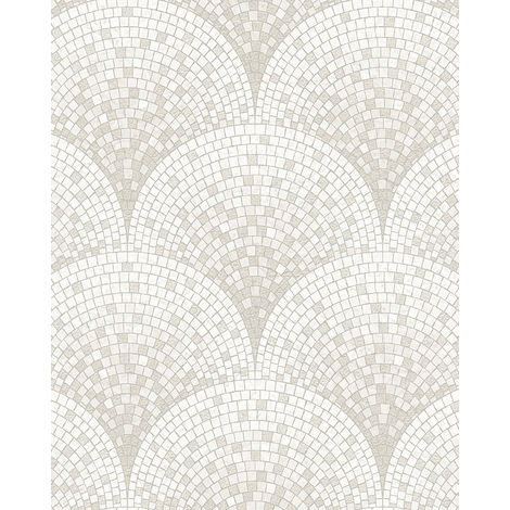 Stone tile wallpaper wall Profhome BA220041-DI hot embossed non-woven wallpaper embossed with tile pattern subtly shimmering white cream 5.33 m2 (57 ft2)