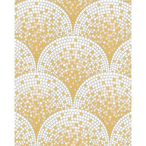 Stone tile wallpaper wall Profhome BA220042-DI hot embossed non-woven wallpaper embossed with tile pattern shiny gold white beige 5.33 m2 (57 ft2)