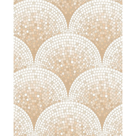 Stone tile wallpaper wall Profhome BA220043-DI hot embossed non-woven wallpaper embossed with tile pattern shiny beige white 5.33 m2 (57 ft2)
