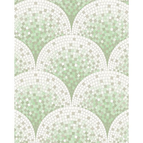 Stone tile wallpaper wall Profhome BA220045-DI hot embossed non-woven wallpaper embossed with tile pattern shiny green white pastel turquoise grey beige 5.33 m2 (57 ft2)