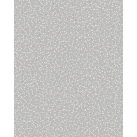 Stone tile wallpaper wall Profhome VD219122-DI hot embossed non-woven wallpaper embossed unicoloured and pearlescent effect silver 5.33 m2 (57 ft2)